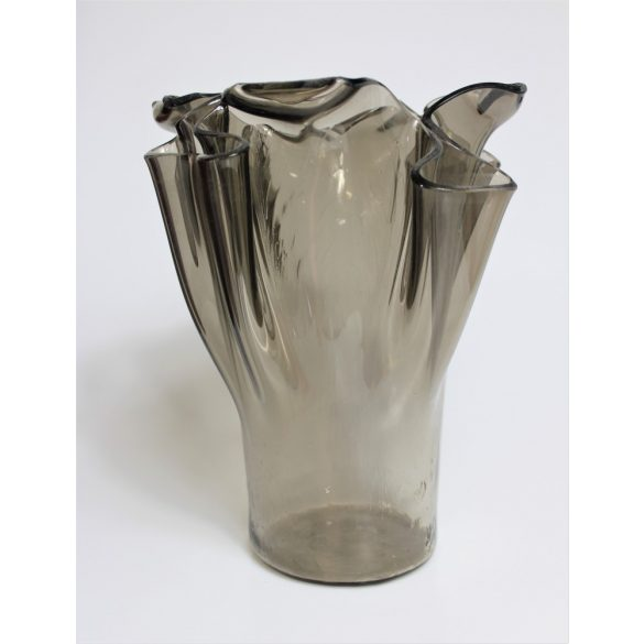 Large glass vase is smoke-clear